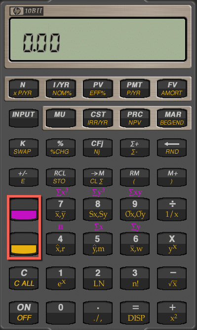 How to use a financial calculator gold purple keys